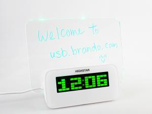 USB4 Port Hub with Alarm Clock and Erasable Memo Board