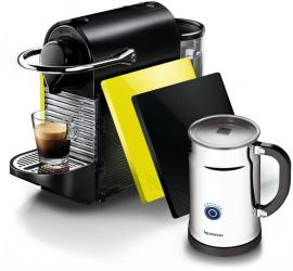 Nespresso Pixie Clip Black and Lemon Neon Espresso Machine