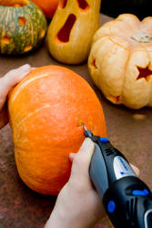 Pumpkin carving using a Dremel