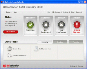 BitDefender Total Security 2008 - control panel