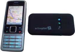 ActivePilot 6 from Falk shown on Nokia 6300 with GPS unit