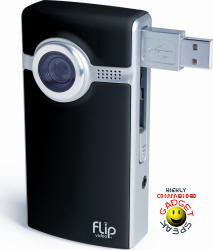 Flip Video Ultra - black showing flip-out USB connector