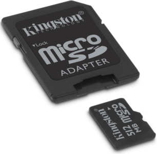 Kingston MicroSD Memory Card 512Mbytes with adapter