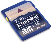 Kingston Secure-Digital High Capacity 8Gbyte Flash card
