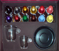 Nespresso Expresso and Lungo glasses with coffee selection