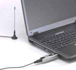 Pinnacle PCTV DVB-T Flash Stick attached to laptop computer